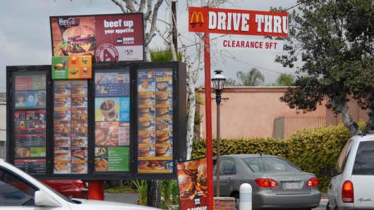 Car queue at the McDonalds drive-through in Anaheim, Calfornina.