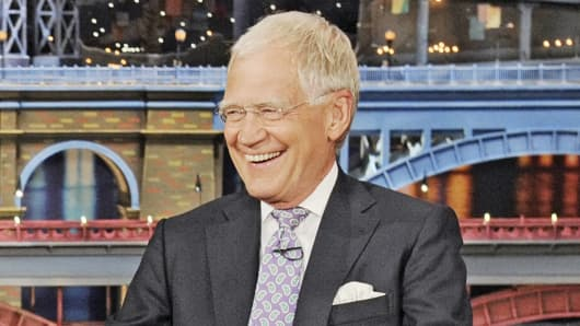"Host David Letterman is shown on the set of the ""Late Show with David Letterman,"" on July 9, 2014, in New York."