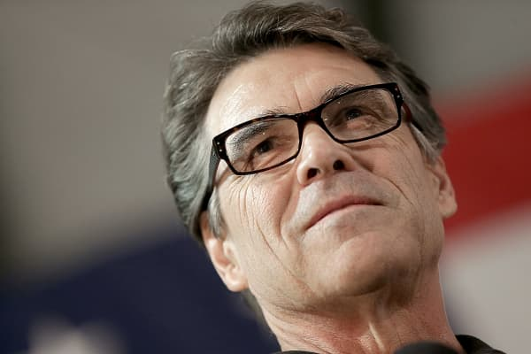 Texas Gov. Rick Perry campaigning for Senate Republican candidate and North Carolina House Speaker Thom Tillis, Oct. 24, 2014, in Smithfield, North Carolina