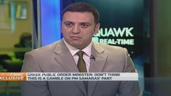 Greek election not a gamble for Samaras: Lawmaker