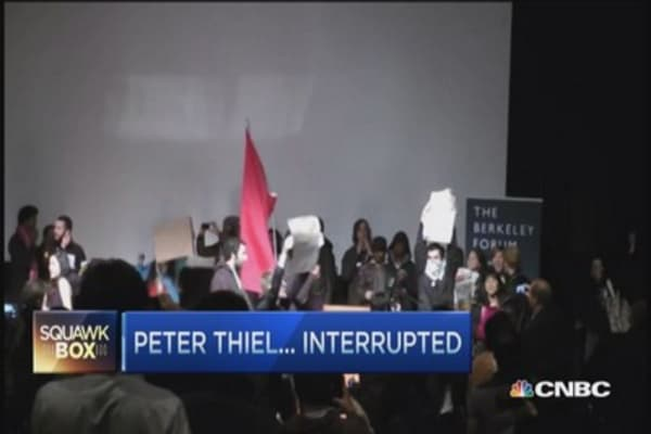 Anti-NSA protesters barge into Peter Thiel speech