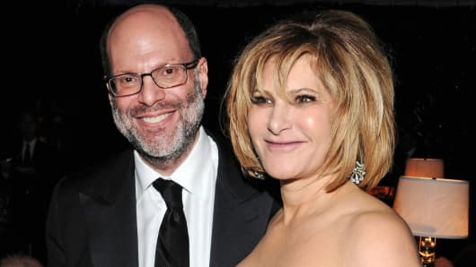 Scott Rudin and Amy Pascal attend the Sony Pictures Classic Annual Golden Globe Awards Party held at The Beverly Hilton in Beverly Hills, 2011.