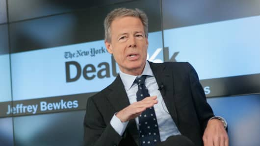 Chairman and CEO of Time Warner Inc. Jeff Bewkes speaks onstage during The New York Times DealBook Conference at One World Trade Center on December 11, 2014 in New York City.