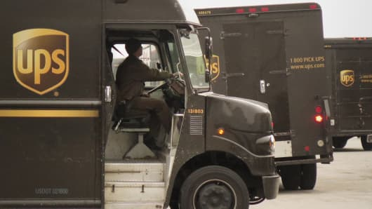 UPS trucks at the UPS Worldport facility in Louisville, Kentucky.