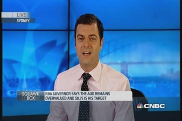 Aussie dollar sinks on RBA Stevens' comments