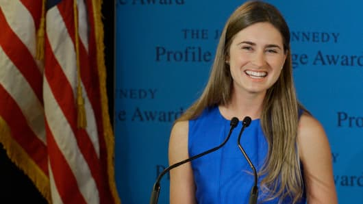 Lauren Bush Lauren accepts the 2014 John F. Kennedy Profile In Courage Award on behalf of her Grandfather former president George H. W. Bush