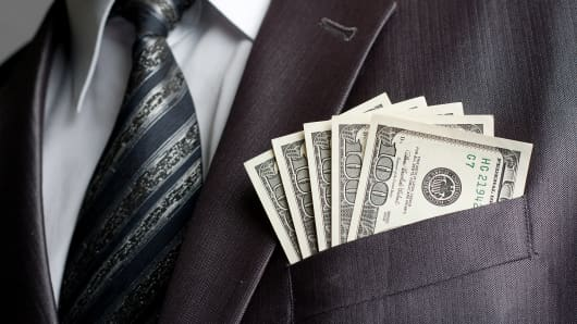 Money in suit pocket