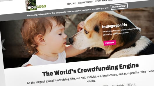 Indiegogo Life website page