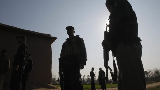 Pakistani security officials in Peshawar, Pakistan during February 2014