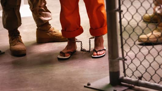 A prisoner at Guantanamo Bay, Cuba