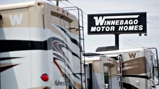 Winnebago Industries motor homes on display at Winnebago Motor Homes in Rockford, Illinois.