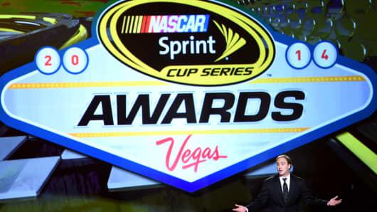 Jay Mohr hosts the 2014 NASCAR Sprint Cup Awards in Las Vegas, December 5, 2014.