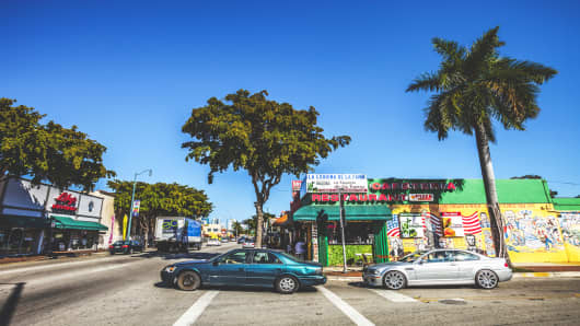 Calle Ocho in Little Havana, Miami.