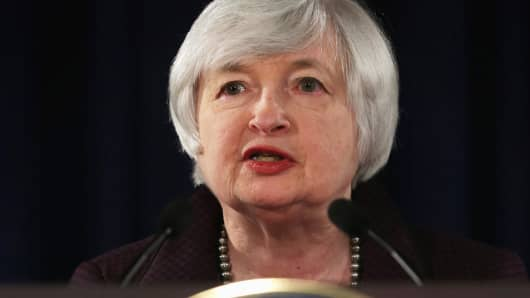 Federal Reserve Board Chairwoman Janet Yellen speaks during a news conference December 17, 2014 at the headquarters of Federal Reserve Board of Governors in Washington, DC.
