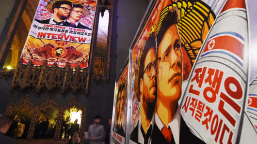 Movie posters for the film 'The Interview'