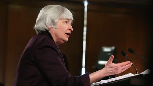 Federal Reserve Board Chairwoman Janet Yellen speaks in Washington.