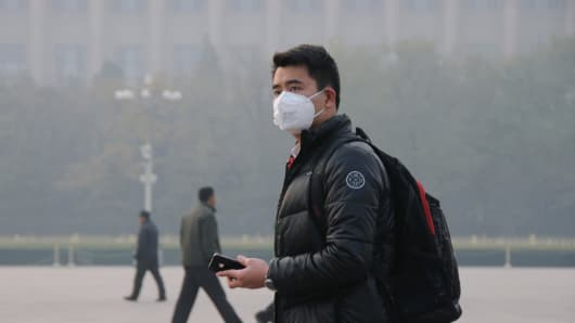 A man wearing a 3M mask in Beijing
