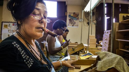 Cuban cigar production at the H. Upmann cigar factory in Havana.