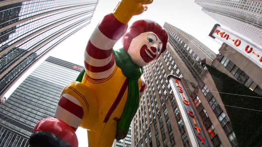 The Ronald McDonald balloon at a Macy's Thanksgiving Day Parade in New York.