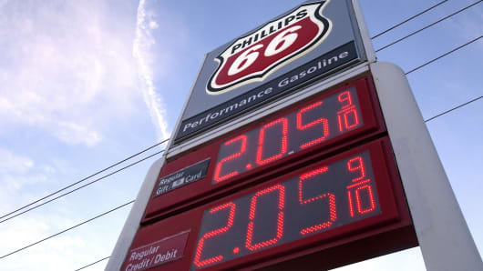A gas price sign is seen at a Phillips 66 station in Houston, Dec. 16, 2014.