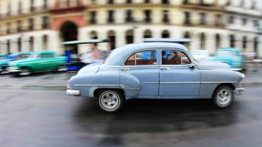 Classic cars line the streets of Havana, Cuba.