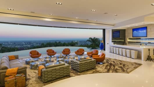 Perched atop the hills, the home has a stunning view of Los Angeles.