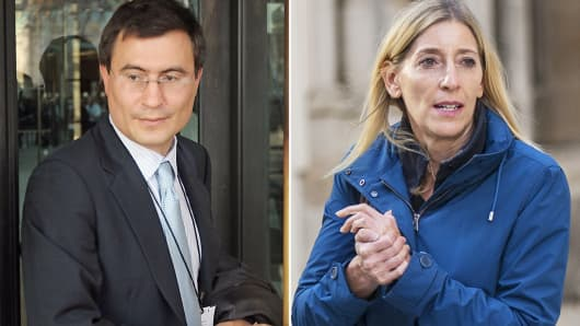 Chris Hohn of the Children's Investment Fund leaves Portcullis House in London, Jan. 27, 2009, and Jamie Cooper-Hohn leaves the High Court after a divorce hearing, in London, Oct. 10, 2014.