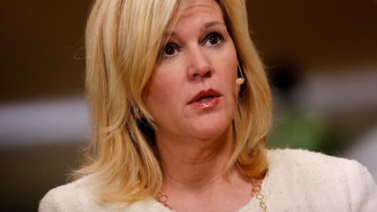 Meredith Whitney speaks during an interview at the annual Milken Institute Global Conference in Beverly Hills, Calif.