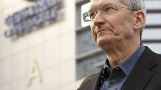 Apple CEO Tim Cook visits a China Mobile shop in Beijing, China.