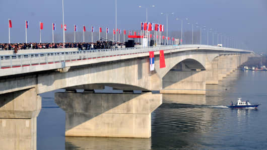 A ceremony is held to open the 1,507-meter long Mihajlo Pupin Bridge spanning the River Danube between the Zemun and Borca districts of Belgrade, Serbia on December 18, 2014. Mihajlo Pupin Bridge is the first bridge built on the River Danube in 79 years.