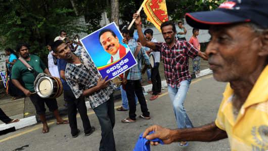 Supporters of Sri Lankan President Mahinda Rajapaksa.