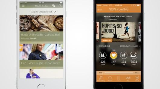 HealthIQ (L)  and RockMyRun apps (R).