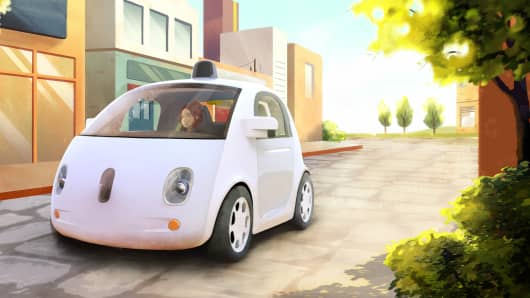This image provided by Google shows an artistic rendering of the company's self-driving car.
