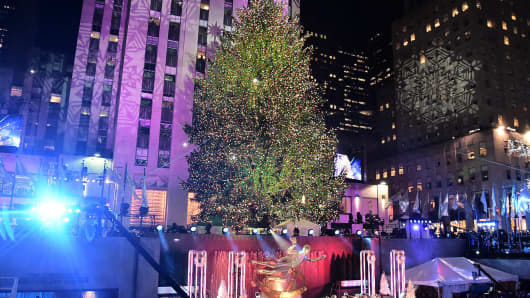 The Christmas tree in Rockefeller Center, New York.