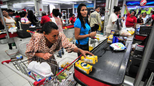 Shoppers at a supermarket in Caracas, Venezuela.