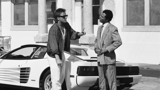 Don Johnson, left, as Detective James 'Sonny' Crockett and Philip Michael Thomas as Detective Ricardo 'Rico' Tubbs in Miami Vice.