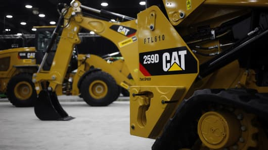 A Caterpillar Inc. 259D Compact Track Loader sits on display at the National Farm Machinery Show in Louisville, Kentucky.