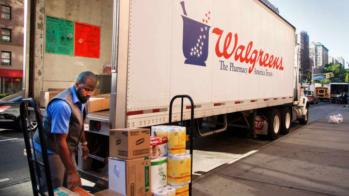 A delivery to a Walgreens location in New York City.