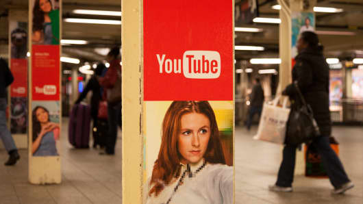 A YouTube ad in the New York City subway.