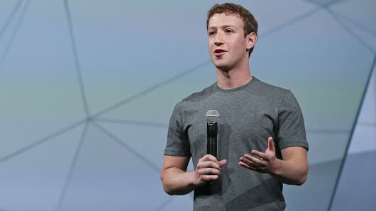 Facebook CEO Mark Zuckerberg delivers the opening keynote at the Facebook f8 conference in San Francisco, April 30, 2014.