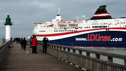 The 'Norman Spirit' - a ferry in the same class as the 'Norman Atlantic'. LD Lines does not operate the route on which the Italian ferry caught fire.