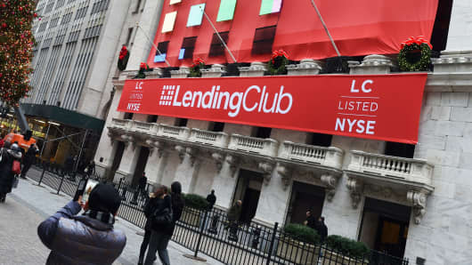 LendingClub banners hang on the facade of the New York Stock Exchange.