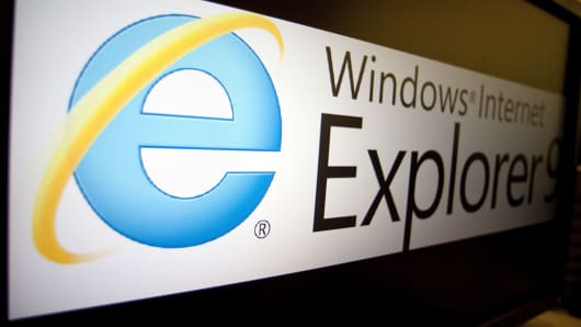The logo of Microsoft's Internet Explorer 9 is displayed on a computer monitor in Washington, March 15, 2011.