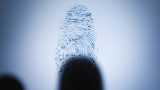 Blurred hand and fingerprint