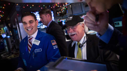 Traders work the floor of the New York Stock Exchange.