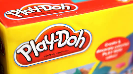 A box of Hasbro's Play-Doh is shown at a Target store in Rosemont, Ill.