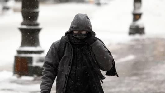 "The ""polar vortex"" hits Detroit, Michigan."