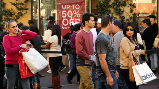 People shop during day-after Christmas sales at Citadel Outlets in Los Angeles, California December 26, 2014.