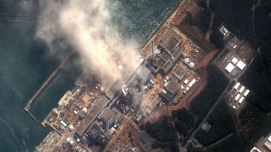 The Fukushima Dai-ichi Nuclear Power plant after a massive earthquake and subsequent tsunami on March 14, 2011 in Futaba, Japan.