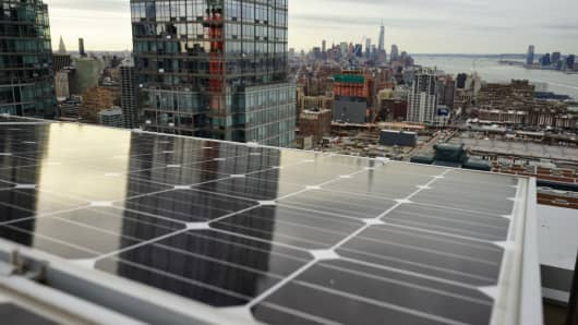 Close-up of solar panels on the roof of the Atelier, a luxury development in midtown Manhattan.